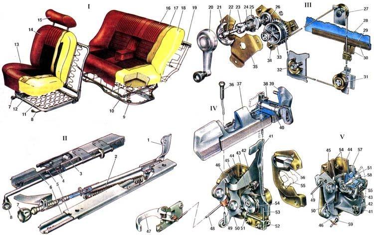 Усилитель спинки переднего сиденья; 2. Пружина механизма наклона спинки; 3. Ролик; 4. Шарики ползунов; 5...